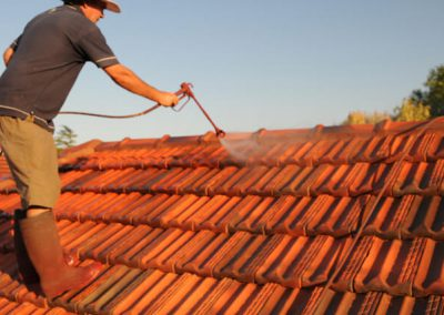 during tile roof restoration